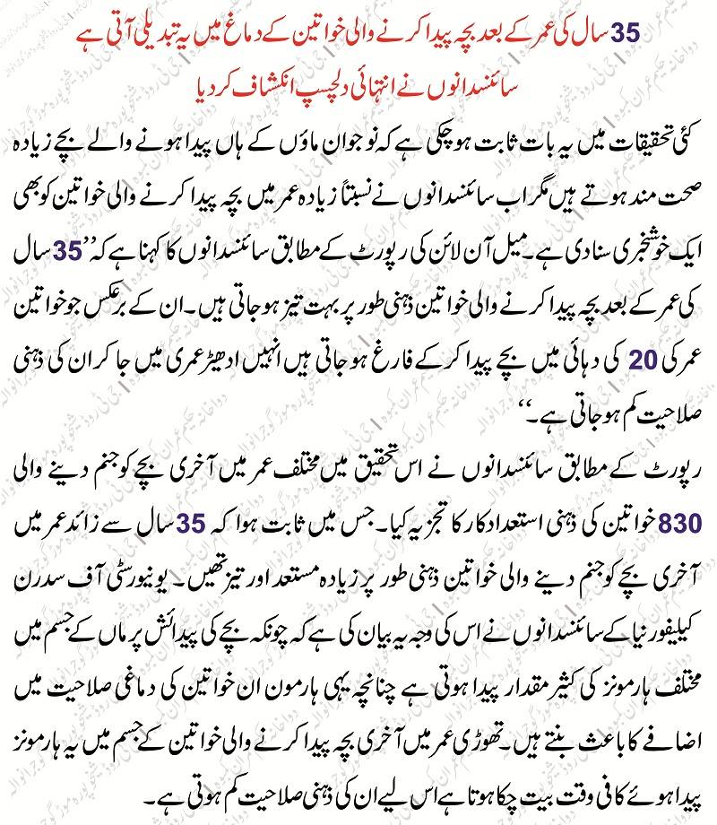 Pregnant Women Health in Age Of After 35 Years in Urdu
